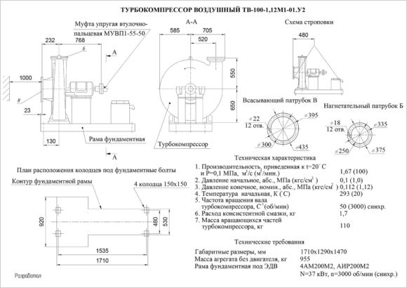 Техническое описание ТВ-100-1,12
